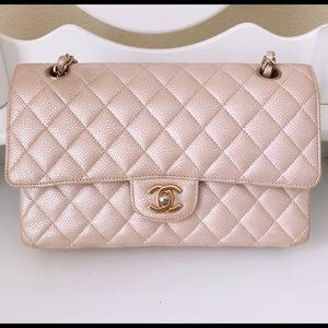 Chanel double flap caviar pearly with wallet rare